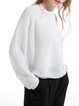 Casual Viscose Long Sleeve Plain See-through Look Casual Top