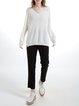 White Raglan Sleeve Plain V Neck Cotton-blend Sweater