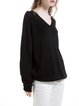 Black Knitted V Neck Raglan Sleeve Sweater