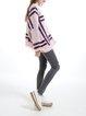Pink Casual Angora-blend Geometric Knitted Cardigan
