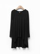 Plain High Low Long Sleeve Crew Neck Simple Tunic Top