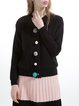 Black Knitted Wool Blend Crew Neck Casual Cardigan