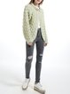 Green Plain Knitted H-line Long Sleeve Cardigan