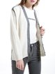 White Casual V Neck Knitted Plain Cardigan