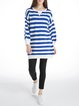 Stripes Long Sleeve H-line Wool Blend Casual Sweater