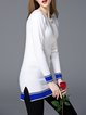 White Long Sleeve Crew Neck H-line Color-block Sweater