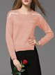 Pockets Color-block Long Sleeve Basic Crew Neck Sweater