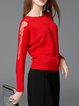 Mesh-inserted Crew Neck Long Sleeve Girly Solid Sweater