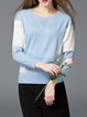 Light Blue Color-block Long Sleeve Pierced Sweater