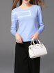 Light Blue Knitted Basic Sweater