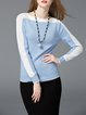 Coral Cotton-blend Long Sleeve Color-block H-line Sweater
