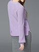 Pierced Crew Neck Solid Balloon Sleeve H-line Sweater