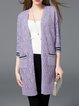 Pierced 3/4 Sleeve Knitted H-line Pockets Cardigan
