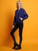 Blue Cute Embroidered Long Sleeve Bomber Jacket