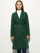 Lapel Buttoned Long Sleeve Solid Coat with Belt