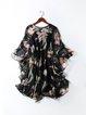 Black Floral Printed Bell Sleeve Dress with Cami