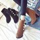 Beading Chunky Heel Zipper Dress Winter Boots