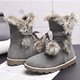Fuzzy Faux Suede Outdoor Boots with Pom Pom