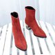 Solid Faux Suede Zipper Chunky Heel Martin Boots