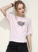 Simple Crew Neck Animal Print Short Sleeve T-Shirt
