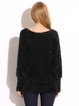 Black Fluffy Floral Appliqued Crew Neck Sweater