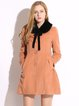 Orange Solid Pockets A-line Wool Blend Coat