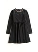 Black Beaded Folds Solid Girly A-line Dress