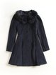 Navy Blue Solid Long Sleeve A-line Faux Fur Coat