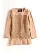 Camel Embroidered Elegant Wool Blend Coat