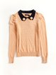 Orange Appliqued Peter Pan Collar Sweater