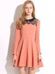 Mesh-inserted Peter Pan Collar Polyester Dress