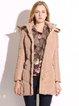 Deep Pink Pockets Hoodie Elegant Down Coat