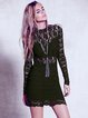 Long Sleeve Sexy Pierced Lace Crew Neck Bodycon Dress