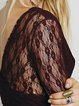 Plunging Neck Floral Lace 3/4 Sleeve Bodycon Dress