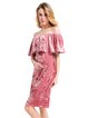 Pink Off Shoulder Elegant Sheath Velvet Dress