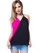 Backless Color-block H-line Halter Spaghetti Tank Top