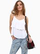 A-line Casual Chiffon Ruffled Spaghetti Backless Tank Top