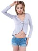 Sexy Gathered Long Sleeve Asymmetrical Solid V Neck Crop Top