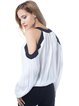 White Color-block Chiffon H-line Cold Shoulder Top