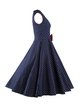 Dark Blue Polka Dots Vintage Bow Sleeveless Squard Neck Dress