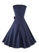 Dark Blue Polka Dots Vintage Bow Sleeveless Squard Neck Dress