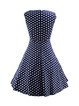 Short Sleeve Vintage Polka Dot Print Bow Dress