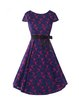Purple A-line Cocktail Bow Crocheted Lace Dress