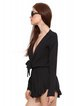 Plunging Neck Chiffon Long Sleeve Sexy Jumpsuit