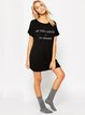 Black Casual Letter Printed Short Sleeve Mini Dress