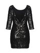 Black Sexy Bodycon Glitter-finished Backless Mini Dress