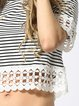 White Crew Neck Short Sleeve Stripes Crop Top