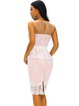 Pink Peplum Crocheted Lace Elegant Sleeveless Dress
