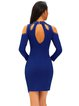 Blue Cold Shoulder Studded Solid Cutout Dress