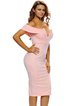 Off-shoulder V Neck Sexy Bodycon Solid Dress